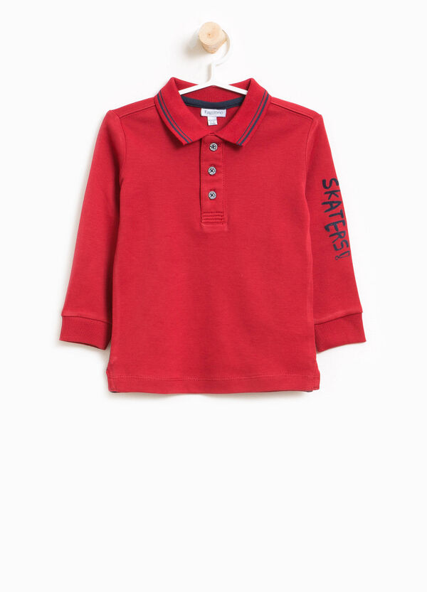 100% cotton polo shirt with lettering print | OVS