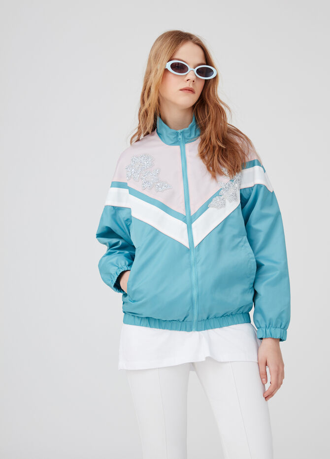 Bomber jacket with diamanté inserts and pockets
