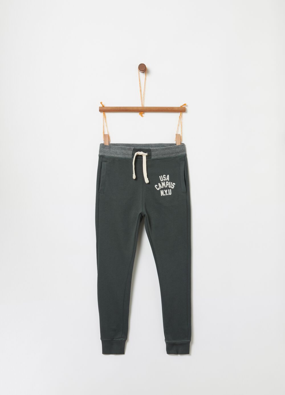 Trousers in 100% cotton fleece with print
