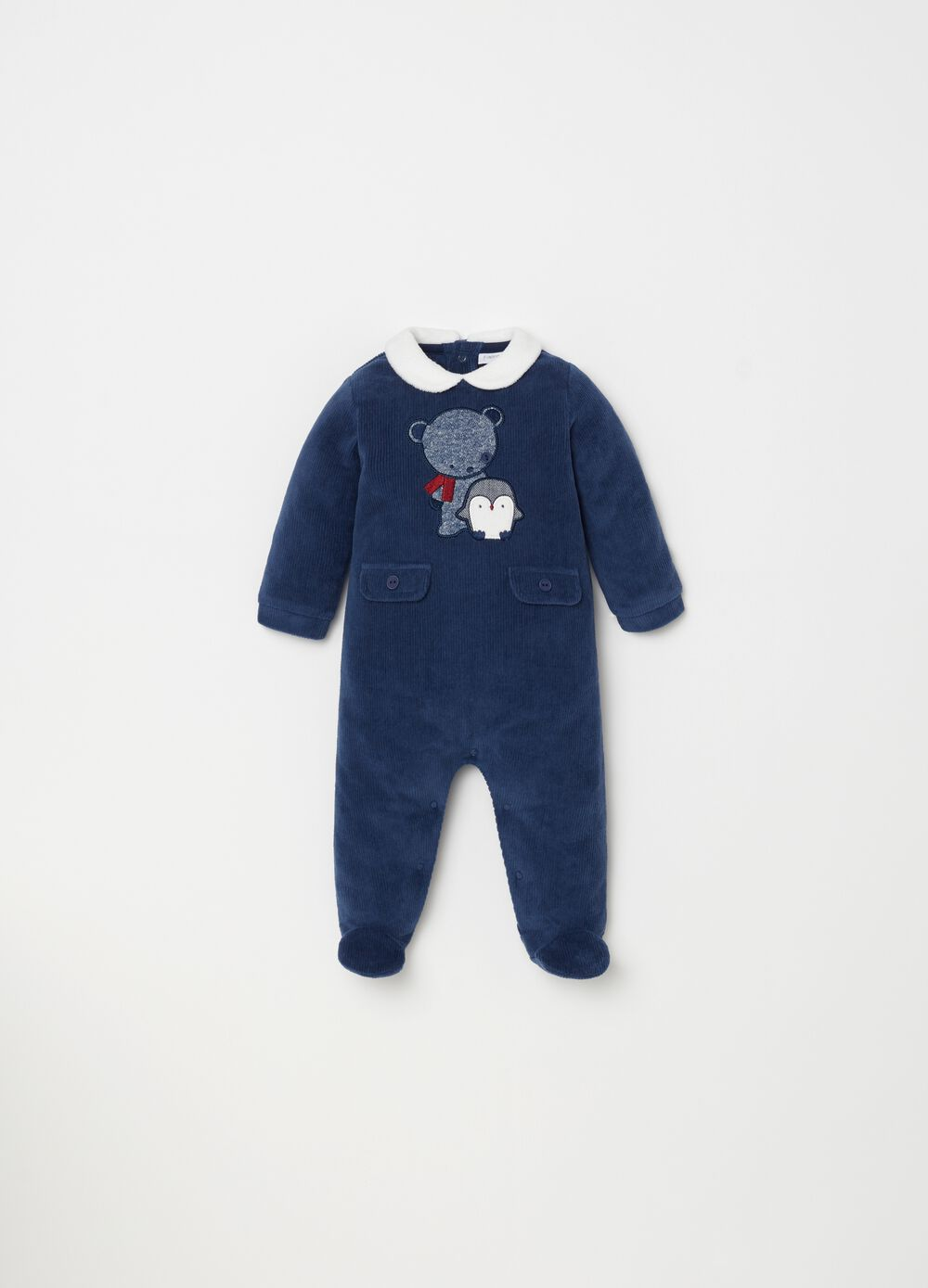 Onesie with ribbed feet and embroidery