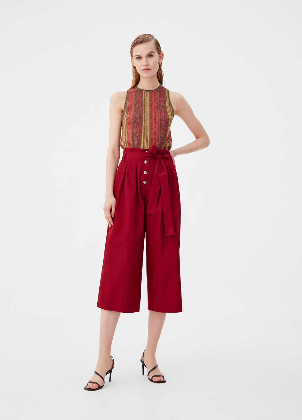 Culotte trousers with knotted belt