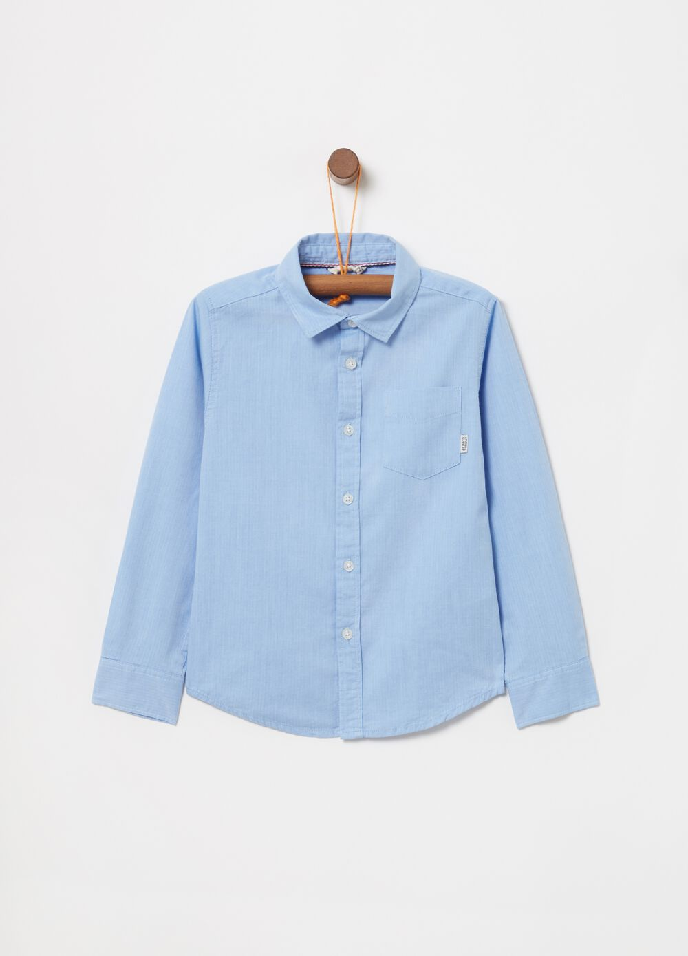 Shirt in 100% cotton with pocket