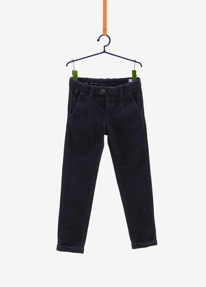 Cotton blend trousers with micro pattern