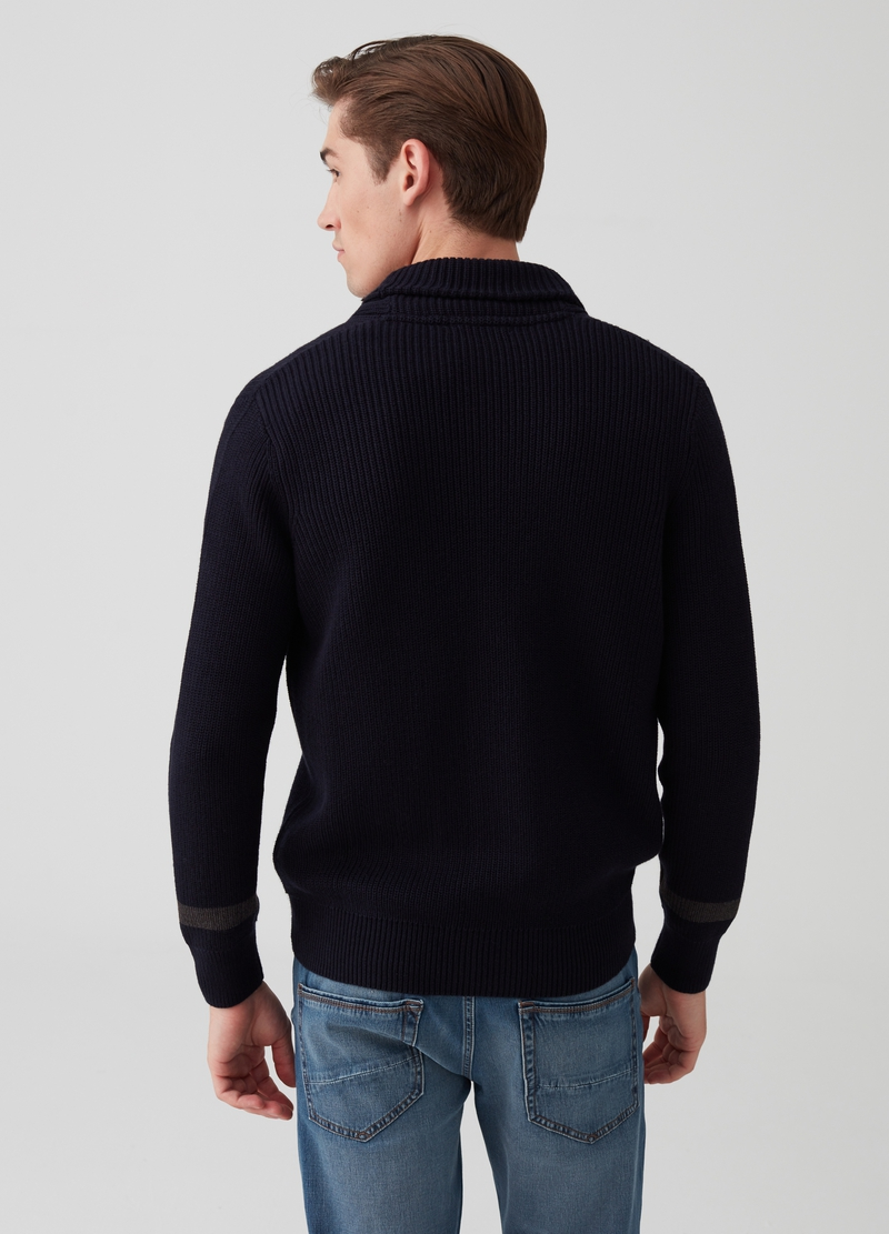 Knit cardigan with shawl neck image number null