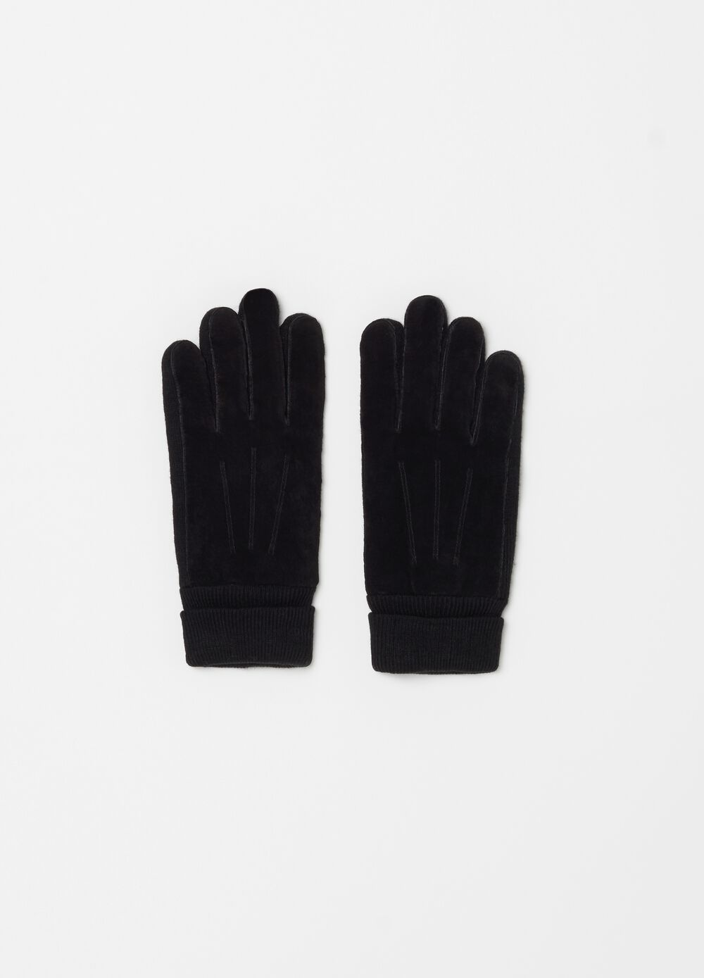 Genuine leather gloves with ribbing