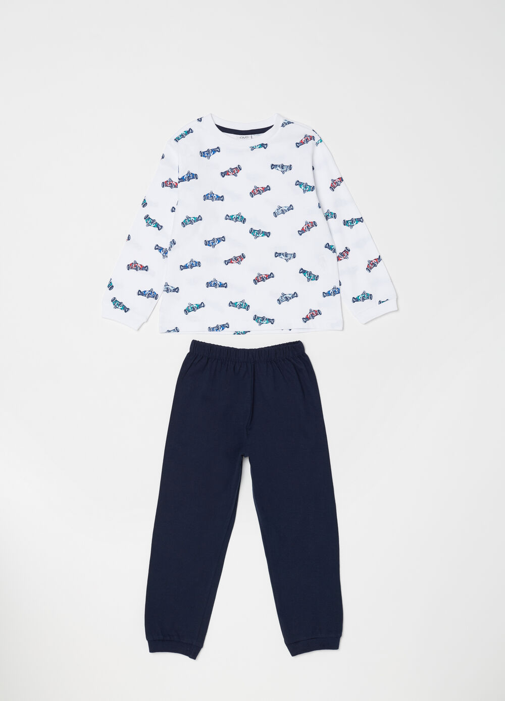 Lightweight cotton pyjamas with cars pattern