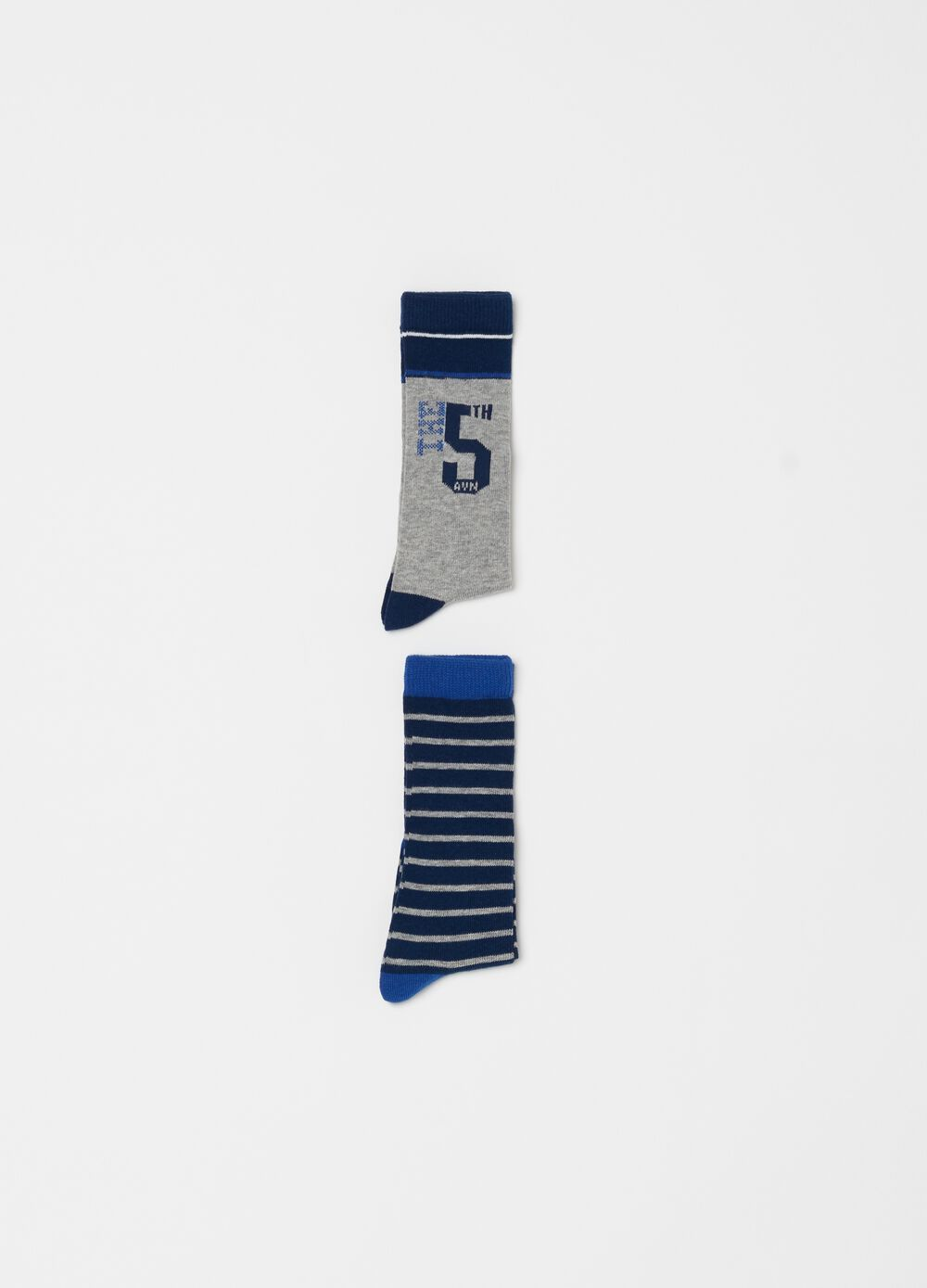 Two-pair pack long stretch socks with pattern