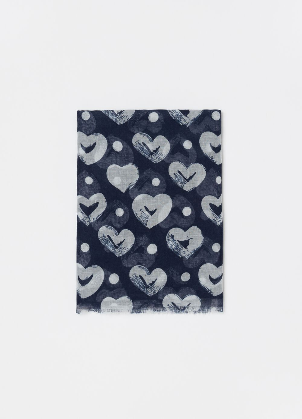 Pashmina with hearts and polka dot pattern