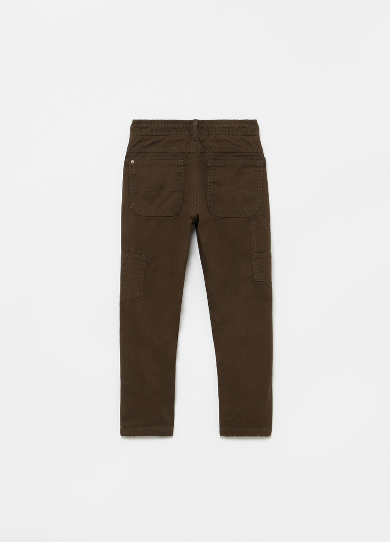 100% organic cotton cargo trousers with drawstring image number null