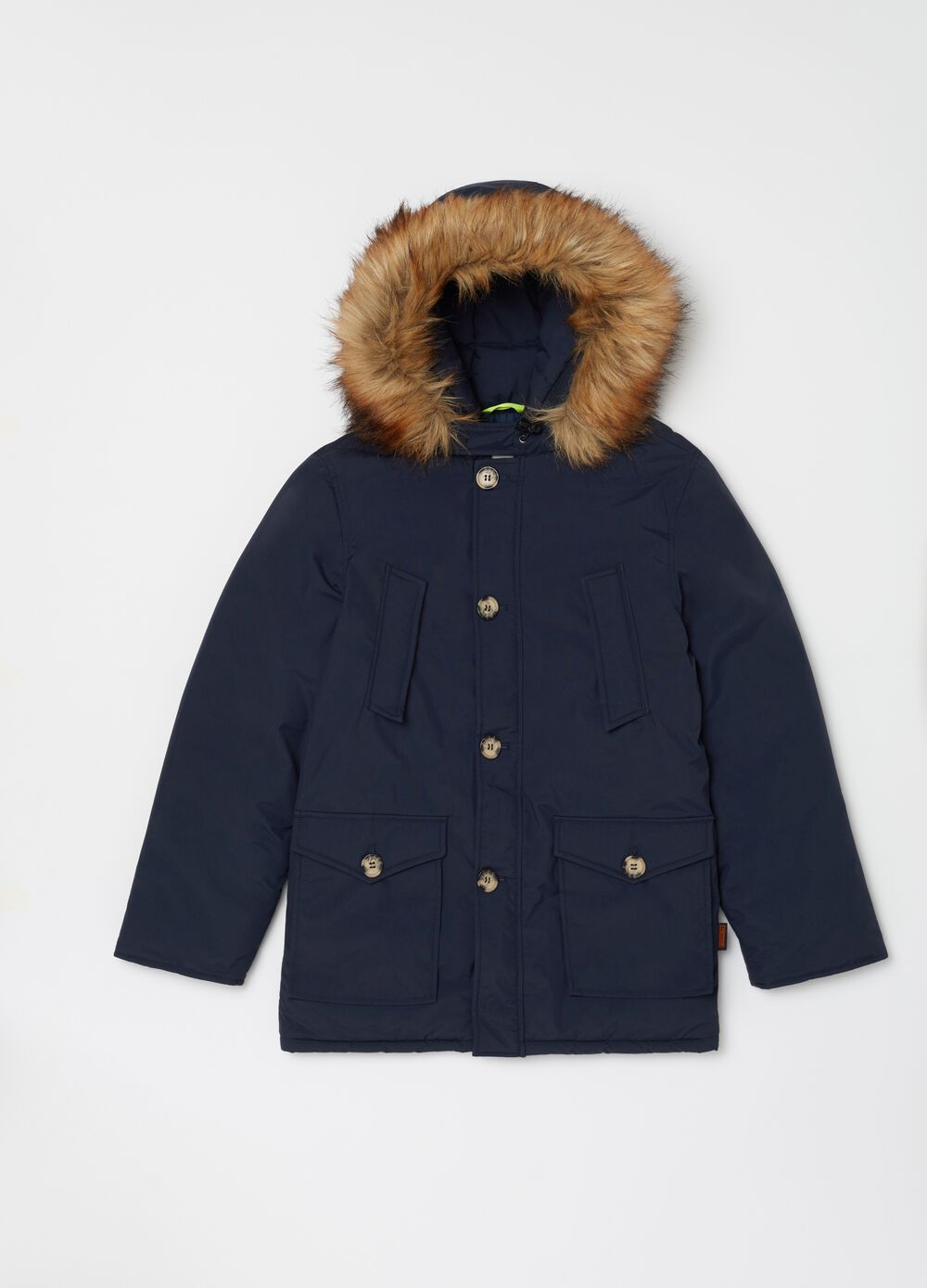 Parka with hood and ecological fur