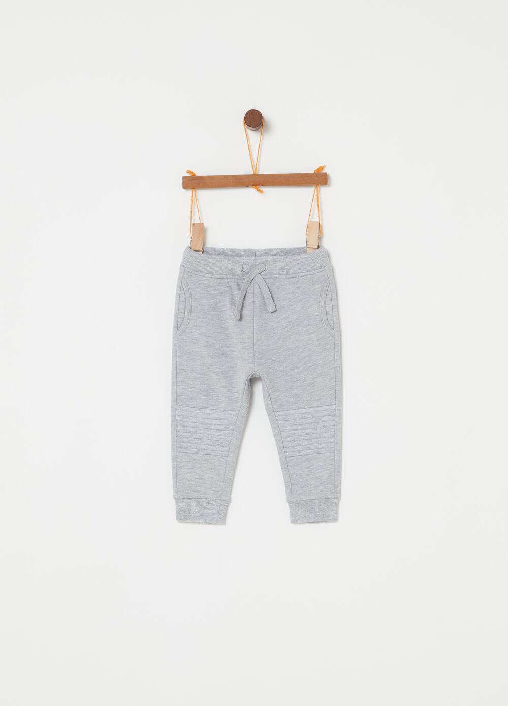 Mélange fleece trousers with inserts