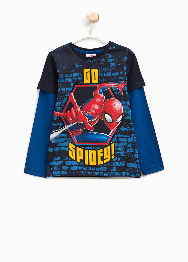Faux layered T-shirt with Spiderman print | OVS