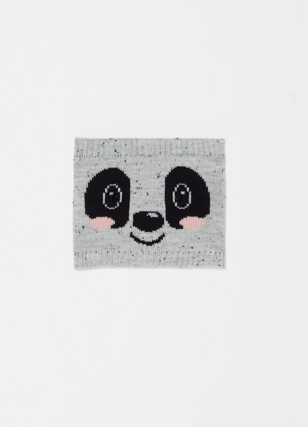 Stretch mélange neck warmer with embroidery