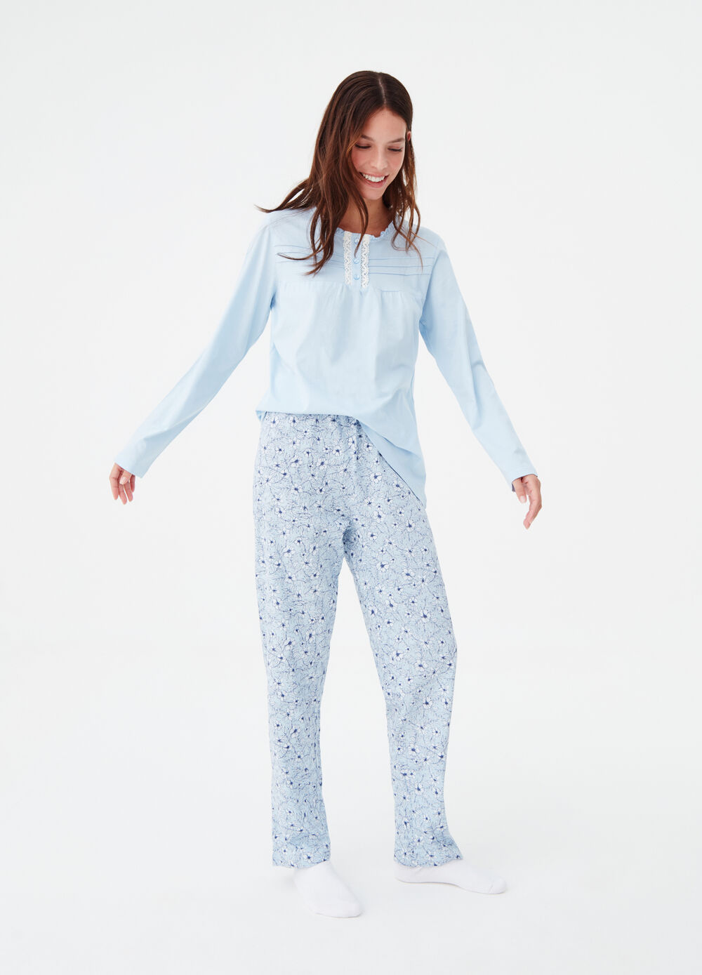 Cotton blend pyjamas with frills