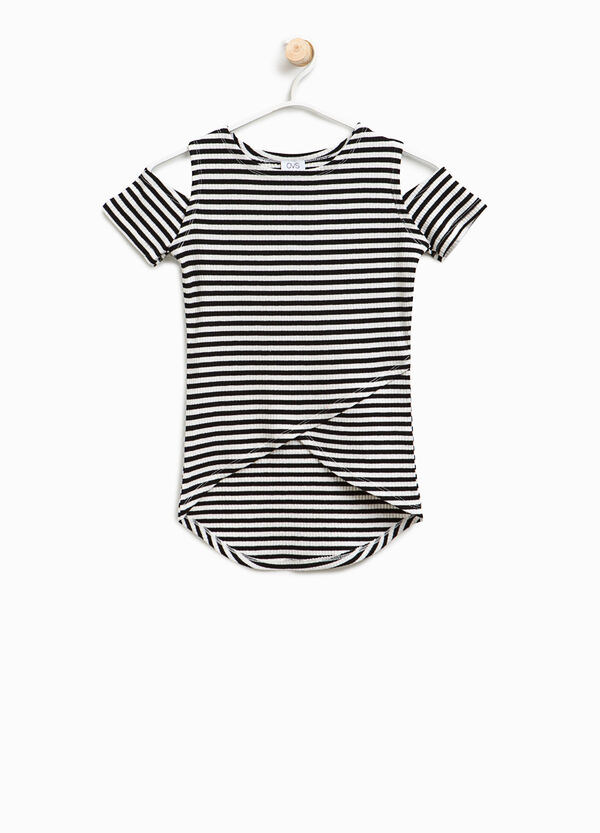 Striped cotton ribbed T-shirt | OVS