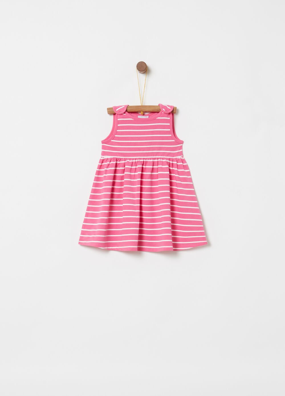 Sleeveless stretch cotton dress with stripes