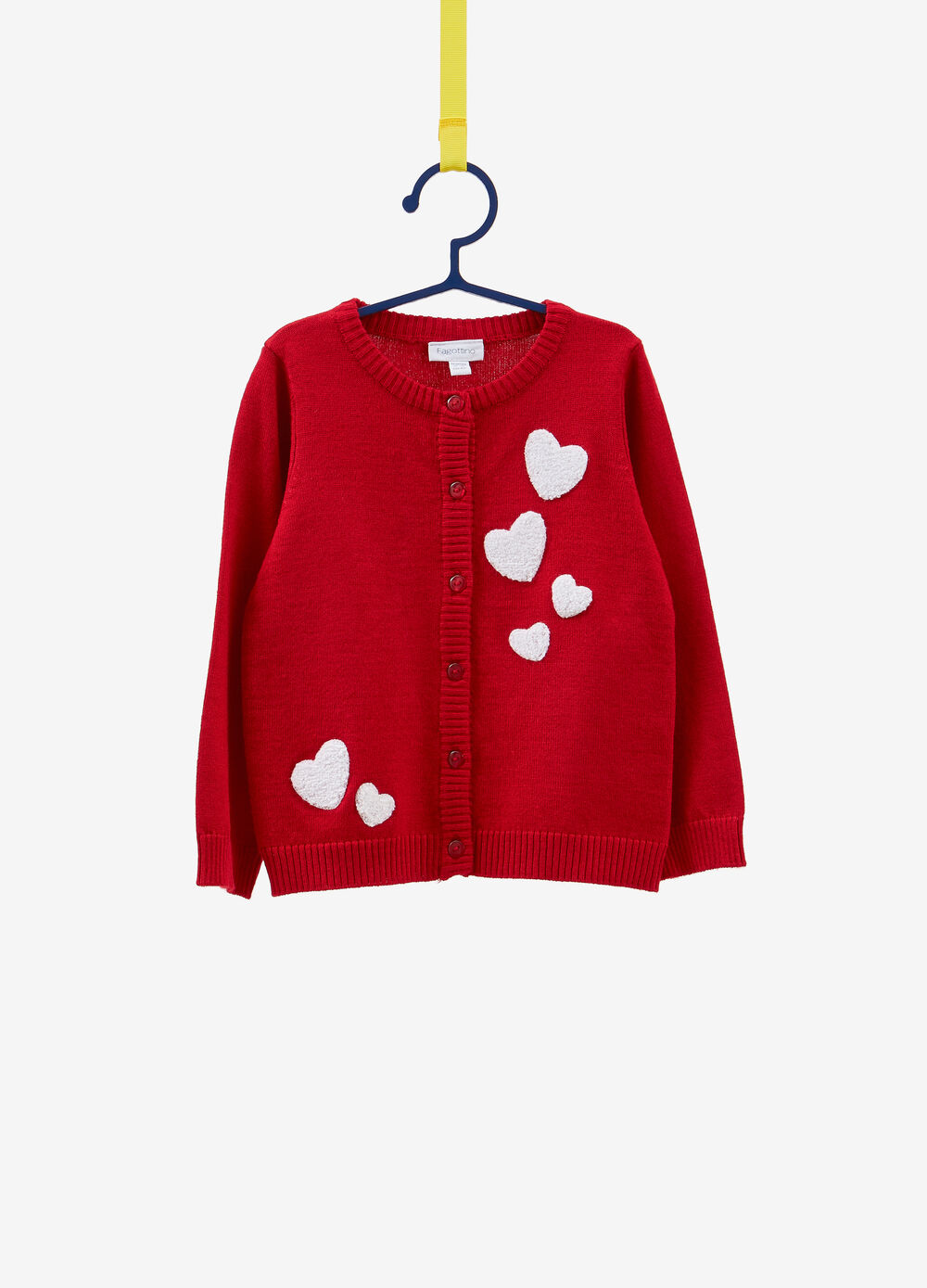 Knitted cardigan with heart patch