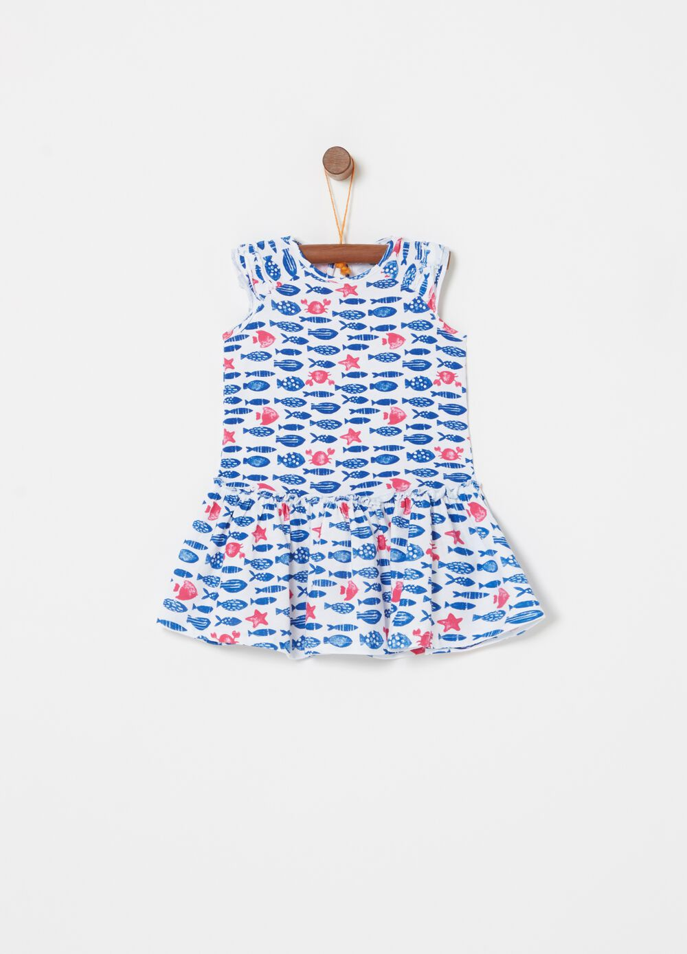 Stretch cotton dress with fish pattern