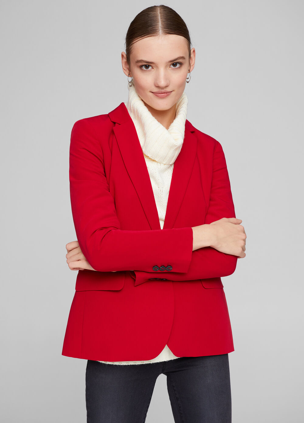 Single-breast blazer in viscose blend