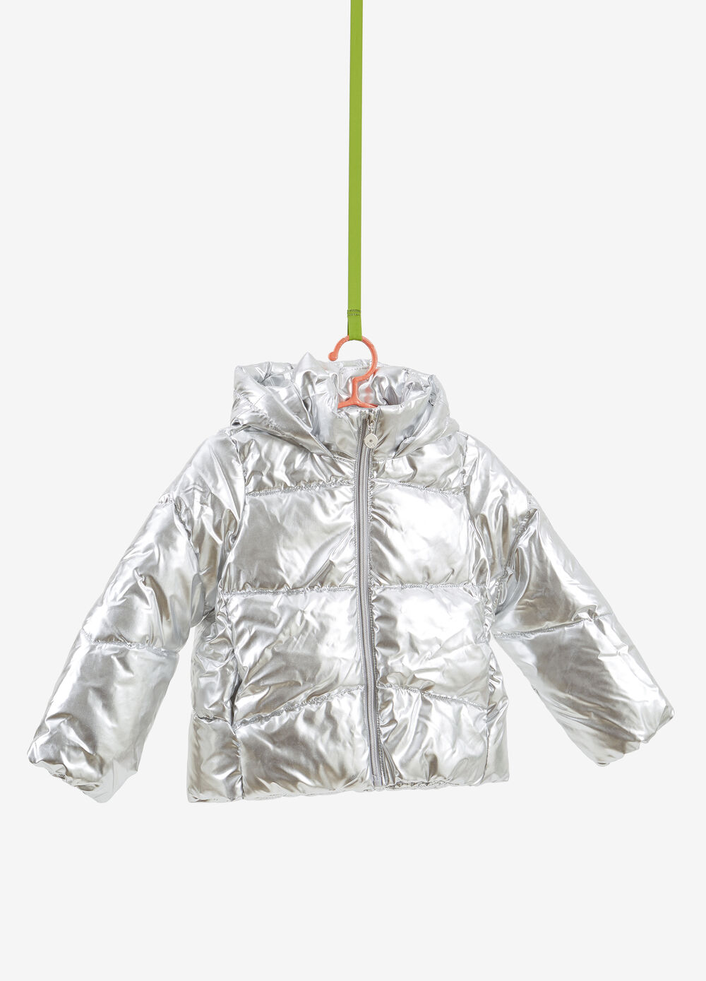 Quilted shiny jacket with hood