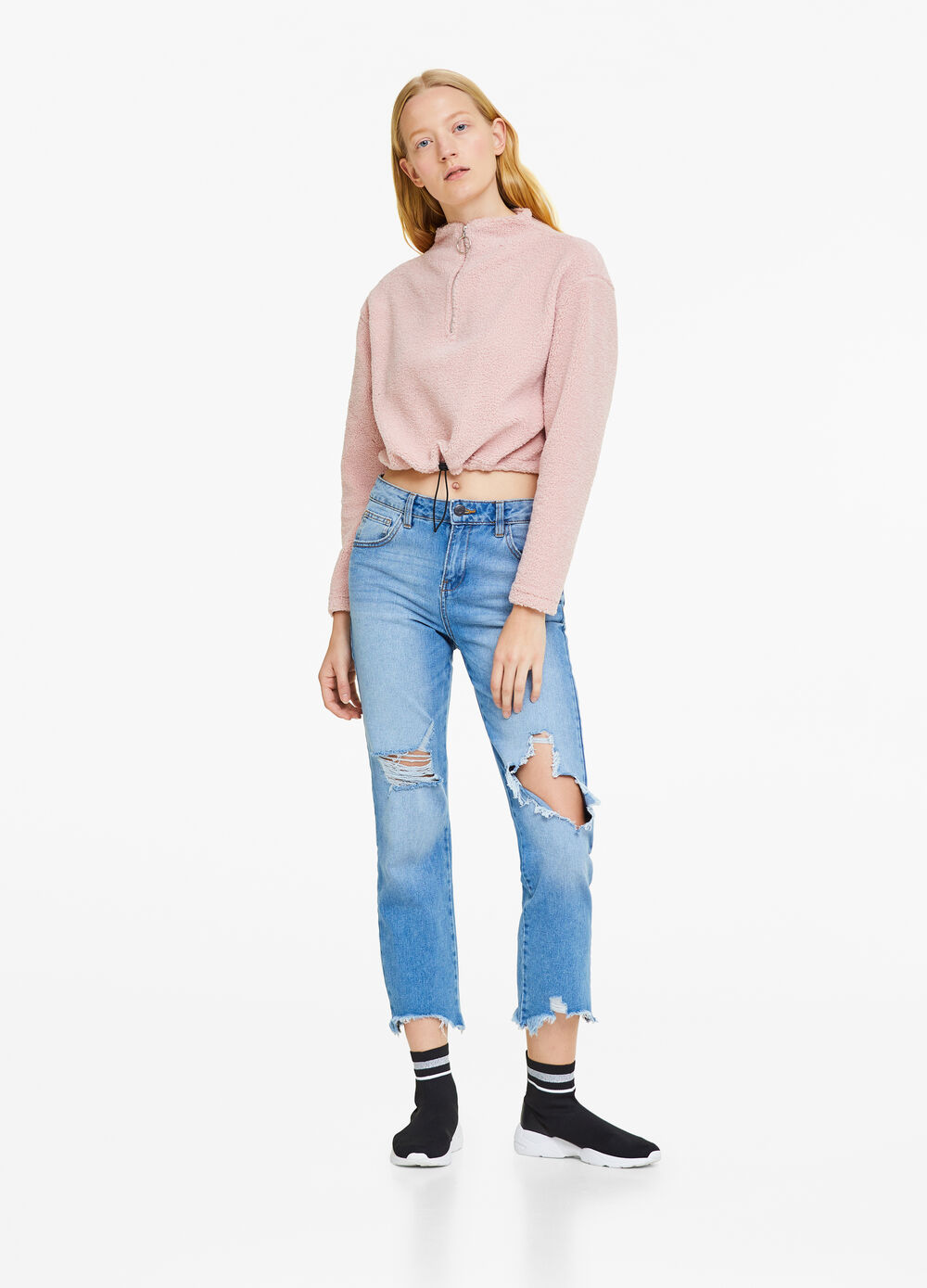 Solid colour crop sweatshirt with high neck
