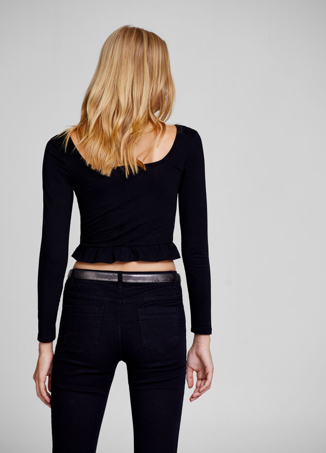 Stretch crop T-shirt with flounce