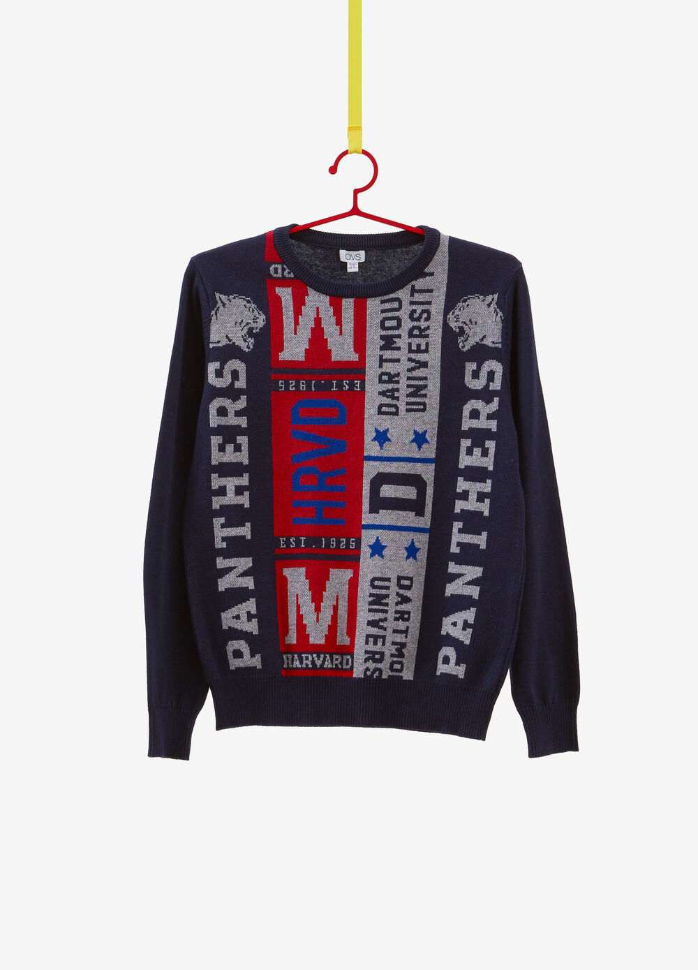 Knitted 100% cotton pullover with print