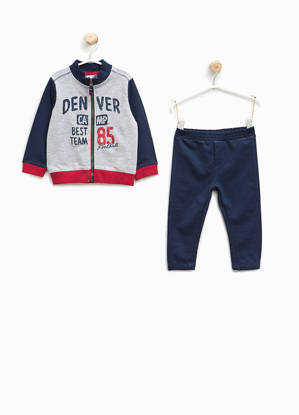 Tracksuit in cotton with printed lettering