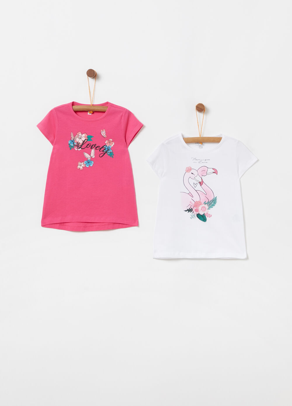 Two-pack 100% cotton T-shirt with glitter print