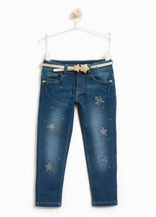 Stretch jeans with glitter belt | OVS