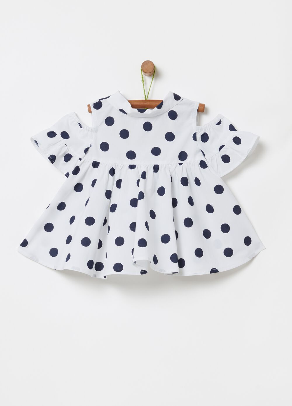 Blouse with all-over polka dots and drop shoulders