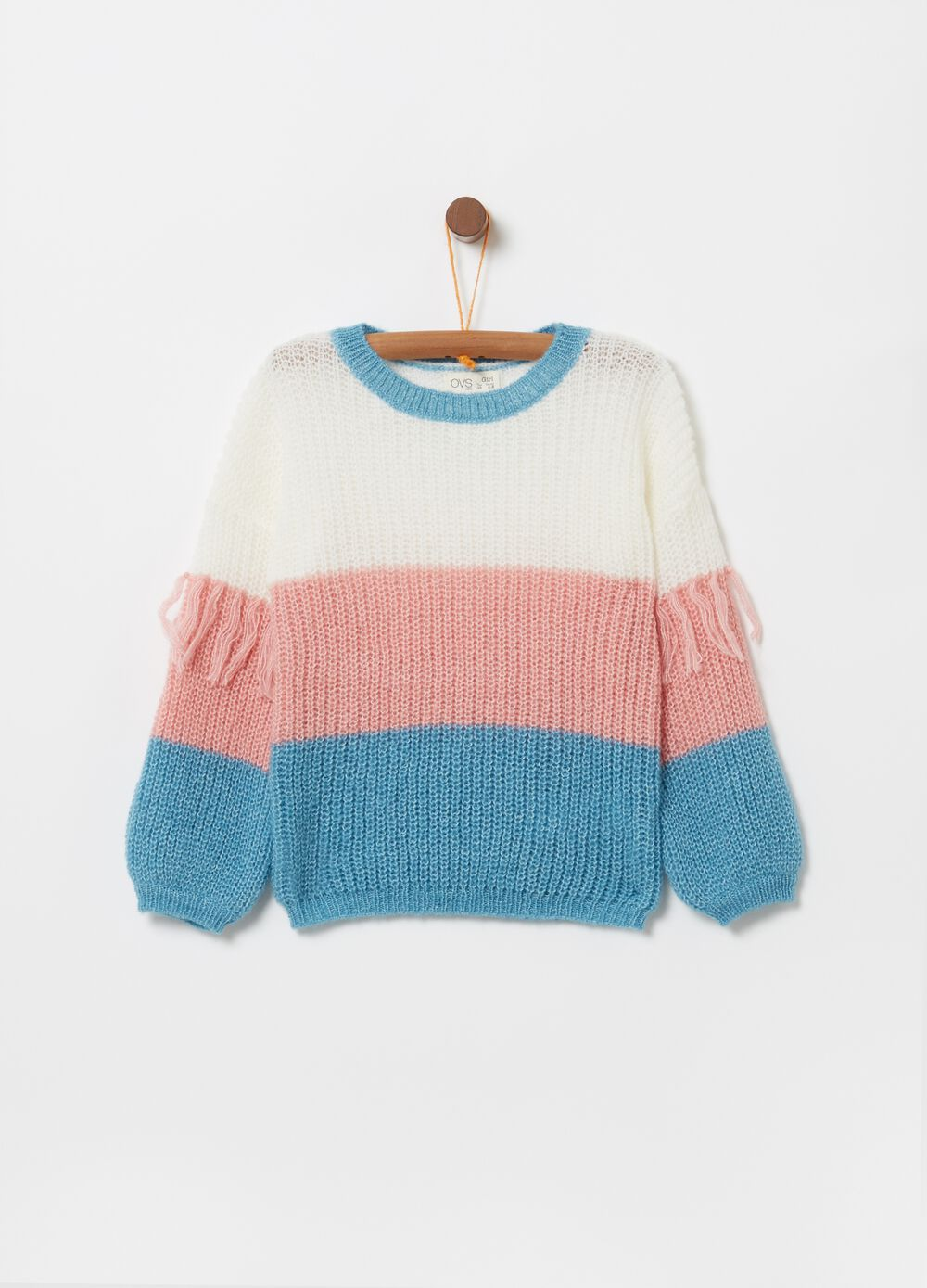 Pullover with striped pattern and knitted lurex