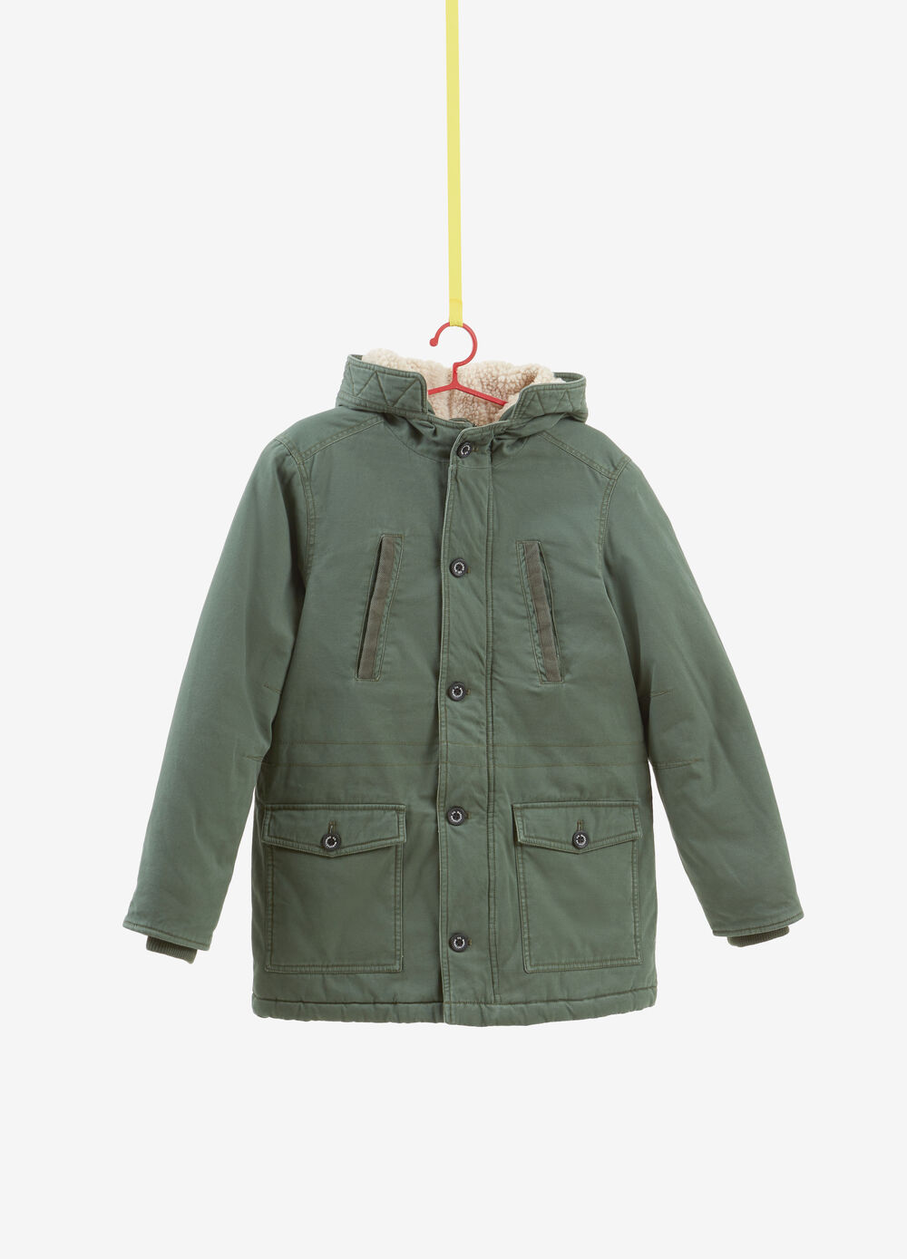 100% cotton parka with hood and buttons