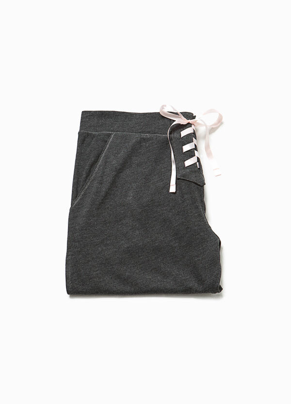 Pyjama trousers with tie and embroidery | OVS
