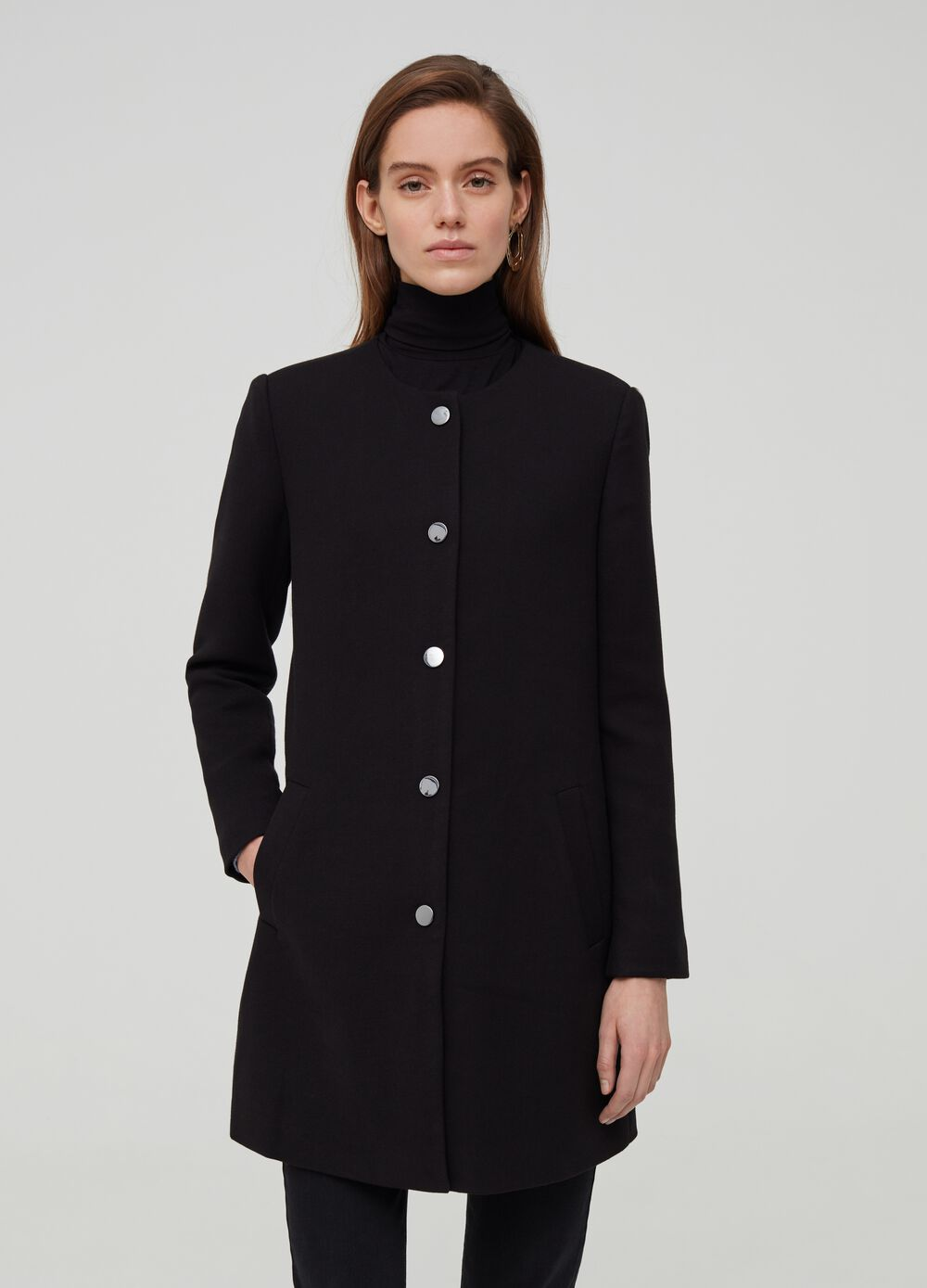 Plain viscose blend coat