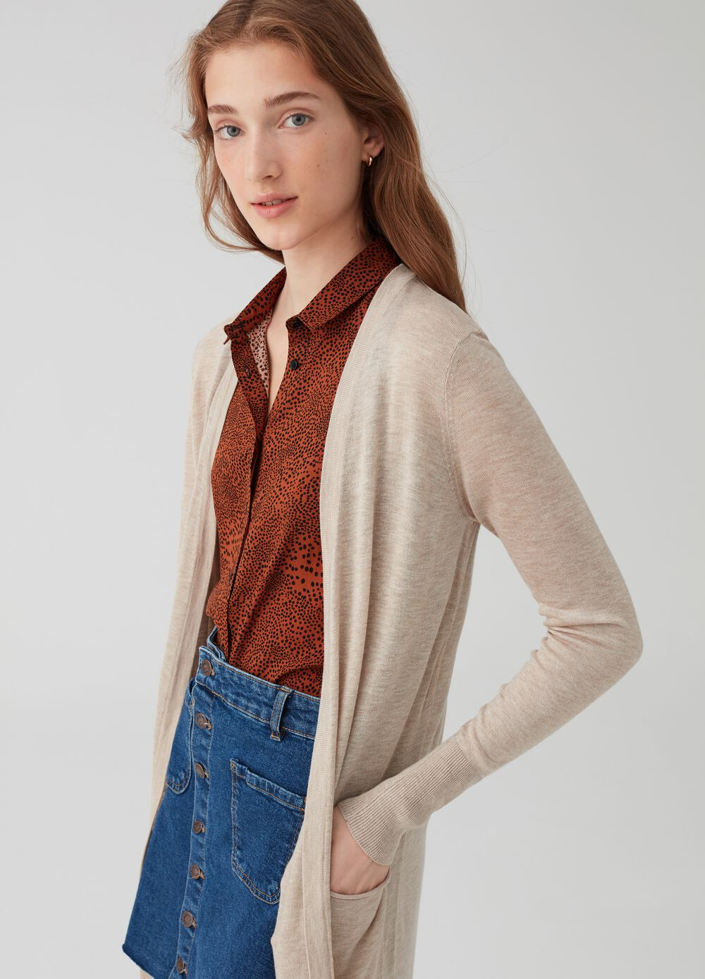 Long knitted cardigan with slits