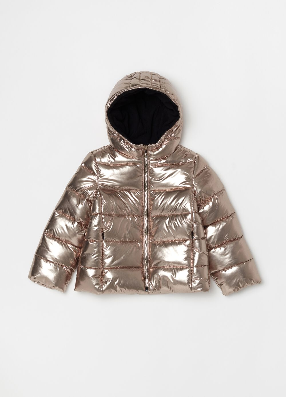 Padded metallic-effect jacket