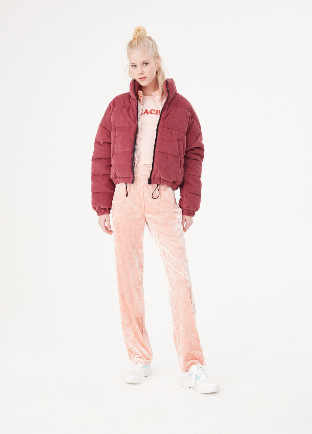 Cotton puffy jacket with ribbing