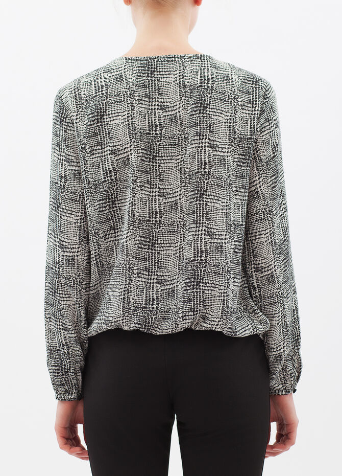 Houndstooth satin blouse