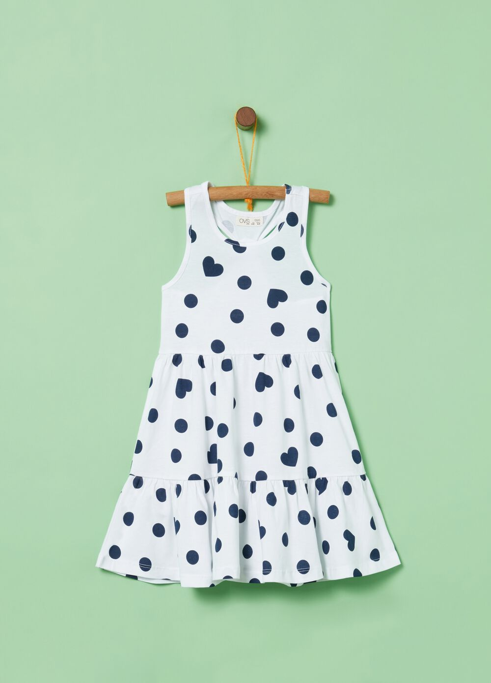 Sleeveless polka dot and hearts pattern cotton dress