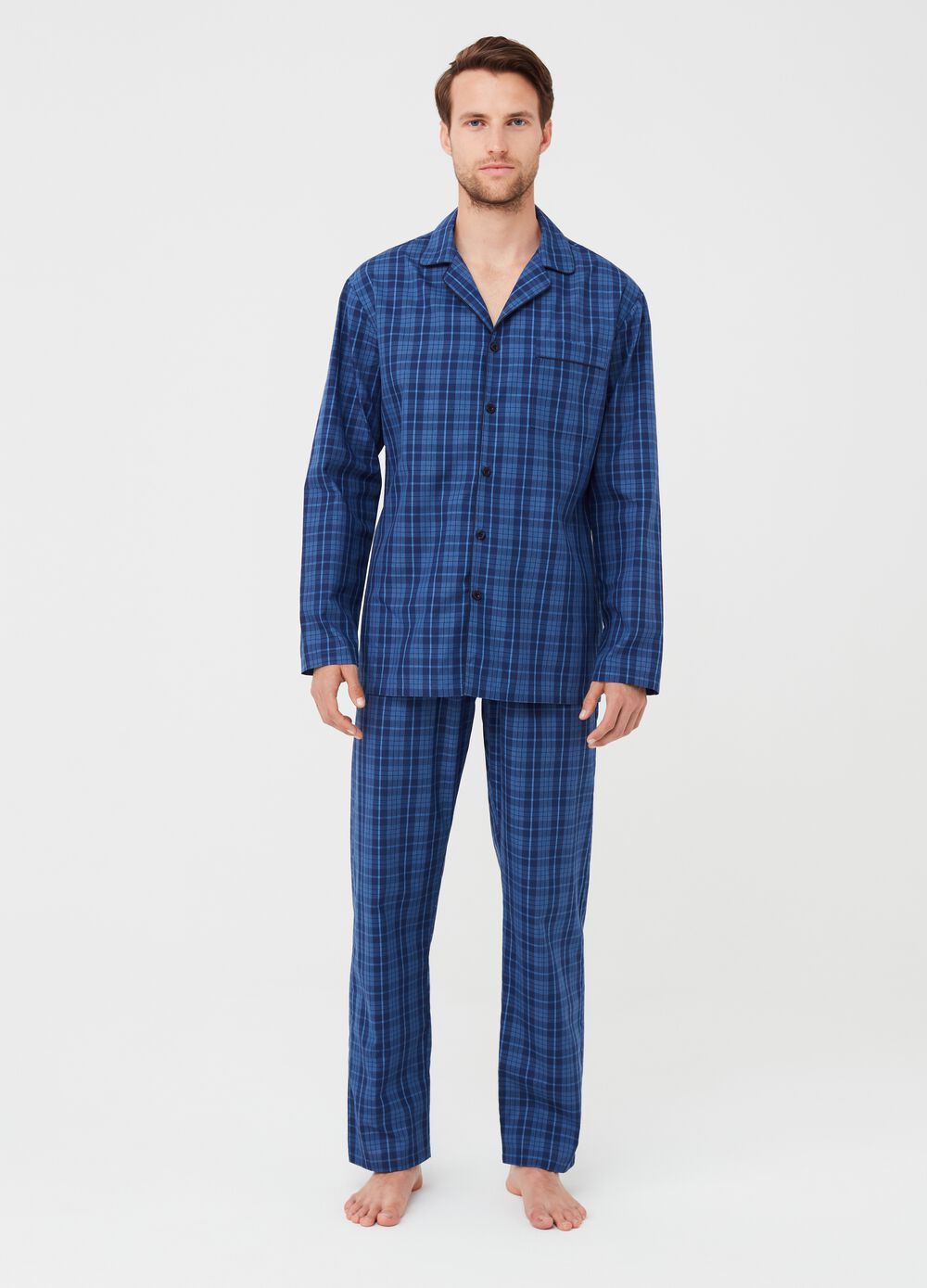 Yarn-dyed canvas pyjama trousers with check pattern