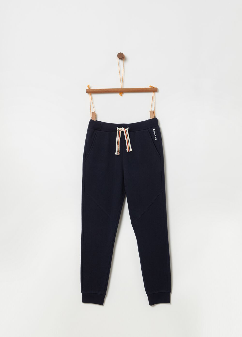 Joggers with drawstring and cuts