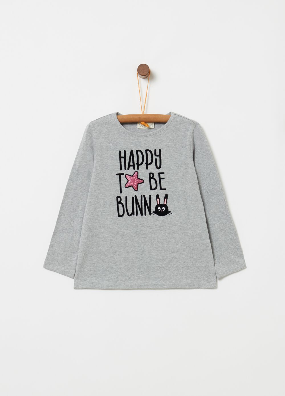 Stretch mélange T-shirt with lettering print