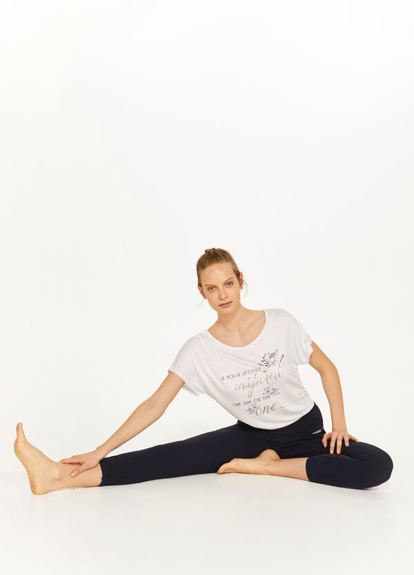 Three-quarter-length stretch cotton leggings