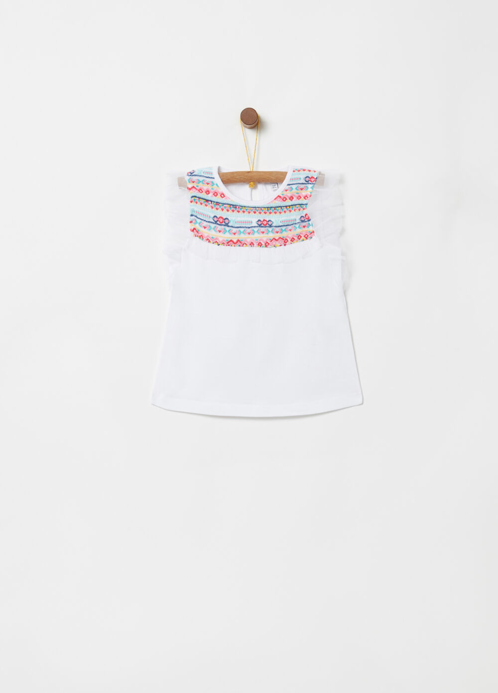 T-shirt with tulle flounce and geometric embroidery