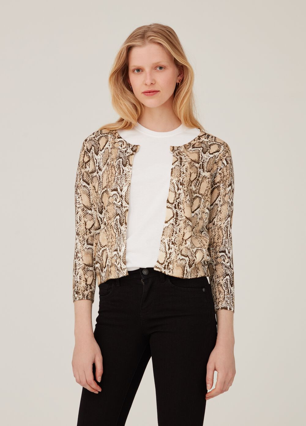 Cardigan with V-neck and python print