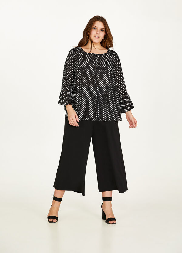 Curvy solid colour jersey crop trousers