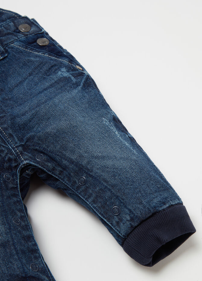Overall denim skirt with pockets and buttons