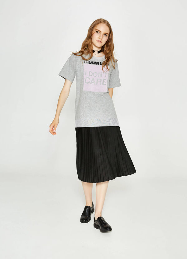 T-shirt stretch con stampa lettering