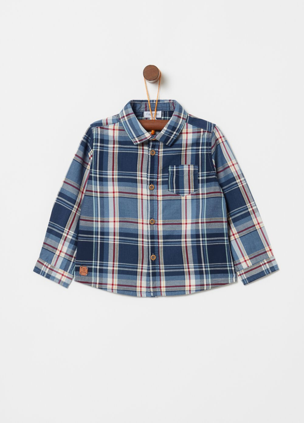 100% cotton check shirt with pocket